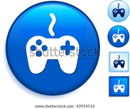 Game Controller Icon on Internet Button Original Vector Illustration - stock vector