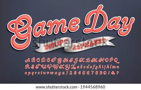 Game Day is a script font with a team sports of collegiate look. Good for sportswear, hoodies, athletic jerseys, etc. Photo stock ©