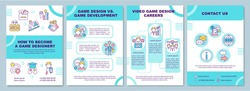 Game designer becoming brochure template. Game development, career. Flyer, booklet, leaflet print, cover design with linear icons. Vector layouts for magazines, annual reports, advertising posters