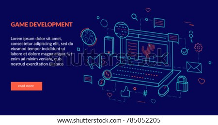 Game Development Concept for web page, banner, presentation. Vector illustration
