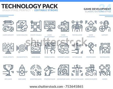 game development icons set
