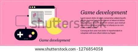 Game development illustration. Elegant flat style on pink background. Programming, code optimization, design documents.