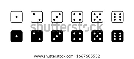 Game dice. Set of game dice, isolated on white background. Dice in a flat and linear design from one to six. Vector illustration. Photo stock ©