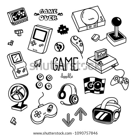 Game doodles. Hand drawing of Game items.