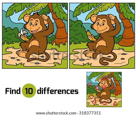 Game for children: find differences (little monkey with a banana)