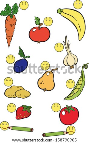 Game for preschool children about food. If You like it drawn happy one, if you do not like it, draw unhapy smiley.