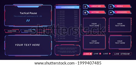 Game frame. Stream overlay banner with buttons and video player UI template. Futuristic live interface. Isolated streaming show graphic tags mockup. Vector square digital elements set