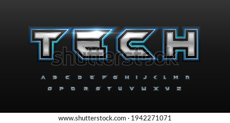 Game futurism alphabet. Techno silver font with glow. Cyber sport type for modern futuristic logo, headline, monogram, video game lettering and typography. Space letters, vector typographic design