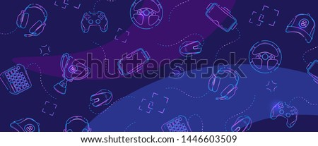 Game Gadgets - Line concept art with modern blue and violet background for banner or fb cover.