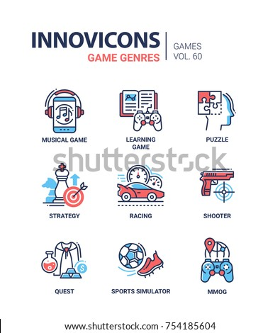 game genres   line design icons