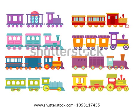 Game gift kids train vector travel railroad transportation toy locomotive illustration.