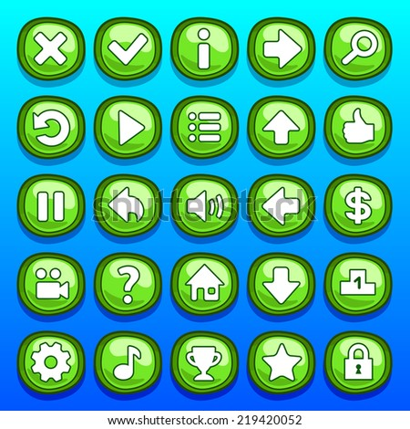 stock-vector-game-green-buttons-set-2194