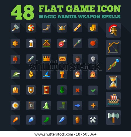 game icon set  vector game flat