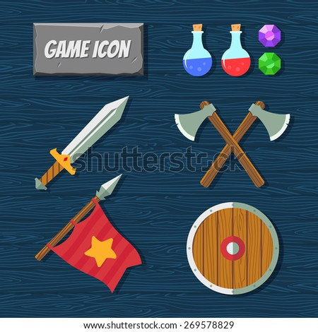 game icons medieval weapons