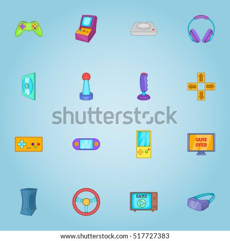 game icons set cartoon