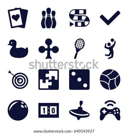 Game icons set. set of 16 game filled icons such as duck, whirligig, clubs, dice, target, volleyball player, tennis rocket, sport score, bowling, puzzle, beach ball, joystick