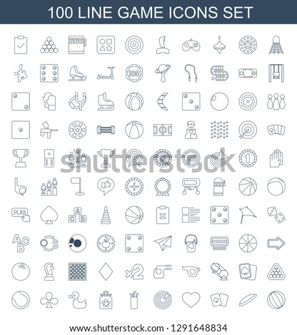 game icons. Trendy 100 game icons. Contain icons such as beach ball, hockey puck, playing card, Hearts, target, golf putter, baby toy, duck, Clubs. game icon for web and mobile.