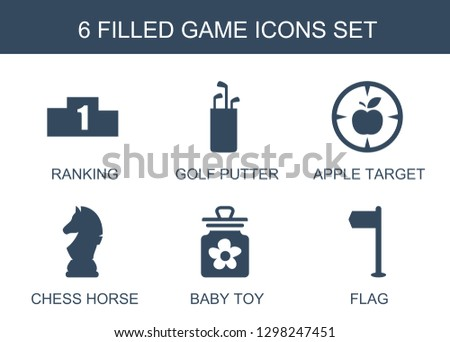 game icons. Trendy 6 game icons. Contain icons such as ranking, golf putter, apple target, chess horse, baby toy, flag. game icon for web and mobile.
