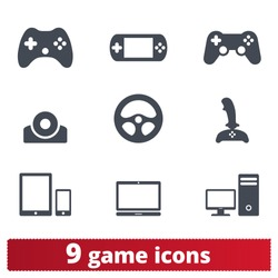 Game icons: vector set of gadget signs