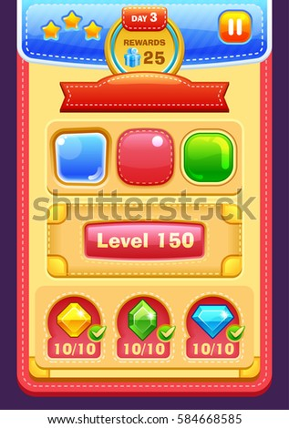 Game interface elements (buttons, progress bar, icons and fields for game)