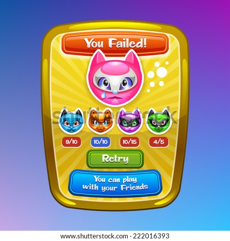 Game interface elements Failed screen with cartoon characters and buttons Vector eps 10