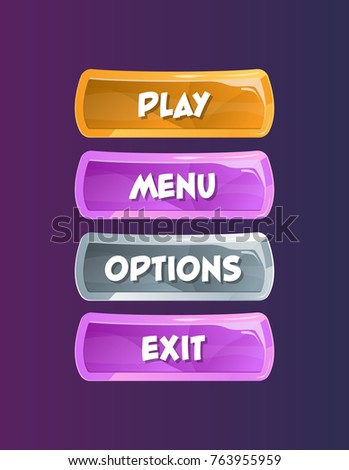 Game interface elements in cartoon style. Play, menu, options and exit buttons. Bright user design isolated vector illustration