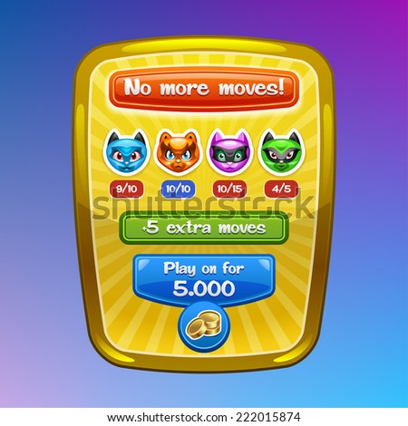 Game interface elements No more moves screen with cartoon characters and buttons Vector eps 10