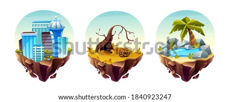 Game islands collection. Landscape with houses, arid area, with dry trees and branches, stone landscape with oasis. Nature landscape of earth for game design cartoon vector Photo stock ©