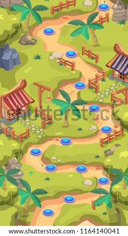 Game Level Map for Mobile Game Design - Reskin and Development Assets with Pointers and GUI