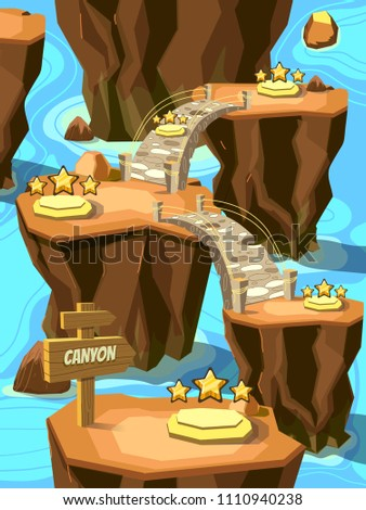 Game level map for playing with canyon landscape