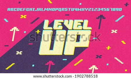 Game. Level Up. Screen. Pixel video game achievement, pixels 8 bit games ui and gaming level progress. Arcade games achievements or pixelation gaming trophy. Vector illustration easy editable.