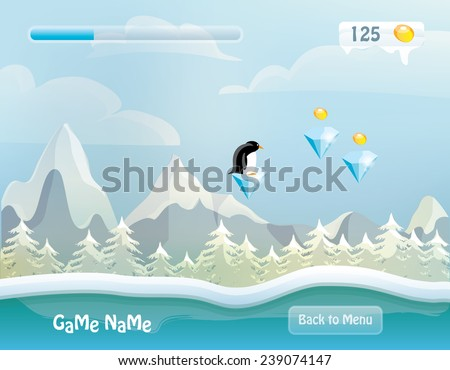 game level vector illustration- snowy background landscape with forest, mountains, clouds, game items and penguin character- computer and mobile design