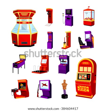 game machine icons set of