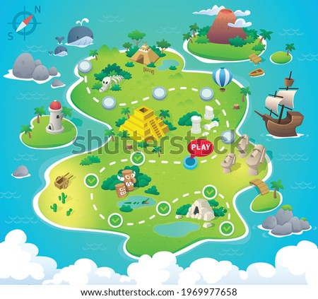 Game Map. Pirate Treasure Maps for children. island. Vector background for game interface. Uninhabited island