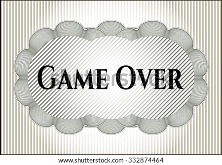 Game Over card, colorful, nice desing