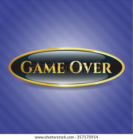 Game Over golden emblem or badge