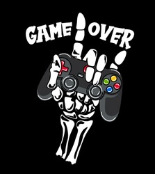 Game over, hand taking a game control