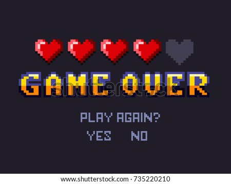 game over Pixel art design isolated on white background. Pixel art for game design.