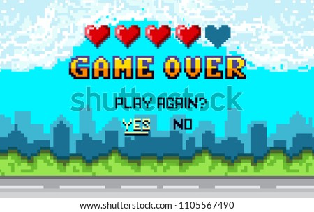 game over Pixel art design with city landscape background. Colorful Pixel arcade screen for game design. Banner with lives and phrase