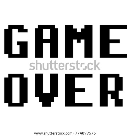 Game over pixel style vector icon illustration