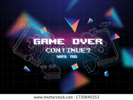 Game Over poster with lowpoly elements. Broken game controller. Creative gaming template. Retro gaming concept.