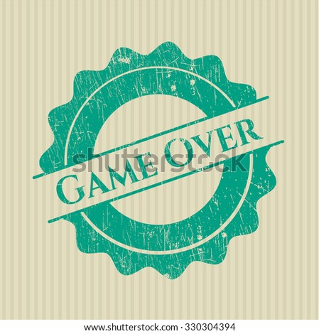 Game Over rubber grunge texture stamp
