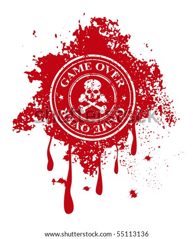 game over stamp on blood background