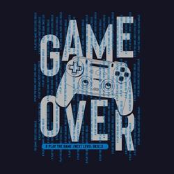 Game over typography, tee shirt graphics, vectors, joystick illustration, hand drawn artwork