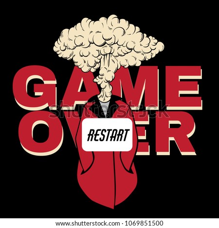 Game over. Vector hand drawn placard with creative illustration with explosion isolated. Colorful template for card, poster, banner, print for t-shirt, pin, badge and patch.