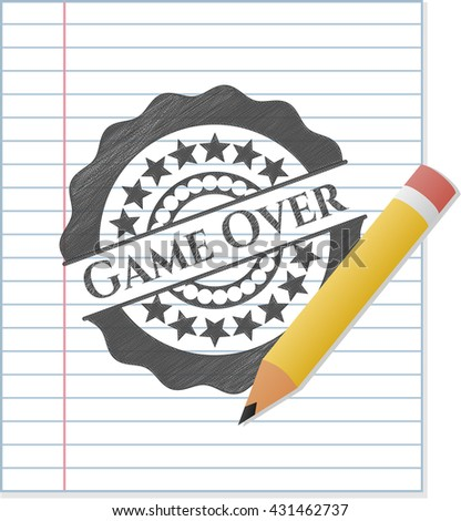 Game Over with pencil strokes