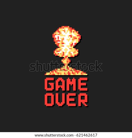 game over with pixel art