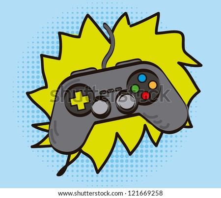 game pad over cartoon background, hand drawing. vector illustration