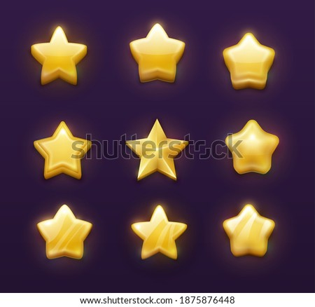 Game ranking gold stars cartoon vector design of ui, gui, interface. Game rank or rate star, golden medal, bonus, level up award and winner achievement reward isolated objects with glossy facets Zdjęcia stock ©