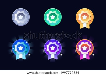 Game rating icons with medals. Level results vector icon design for the game, UI, banner, design for app, interface, game development, playing cards, slots and roulette, Game medal design.